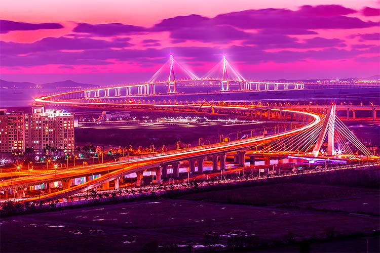 Incheon Bridge at sunset, Seoul Korea