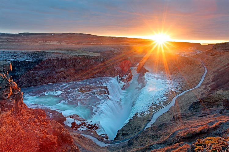 Sunset at Gullfoss Waterfall, Iceland