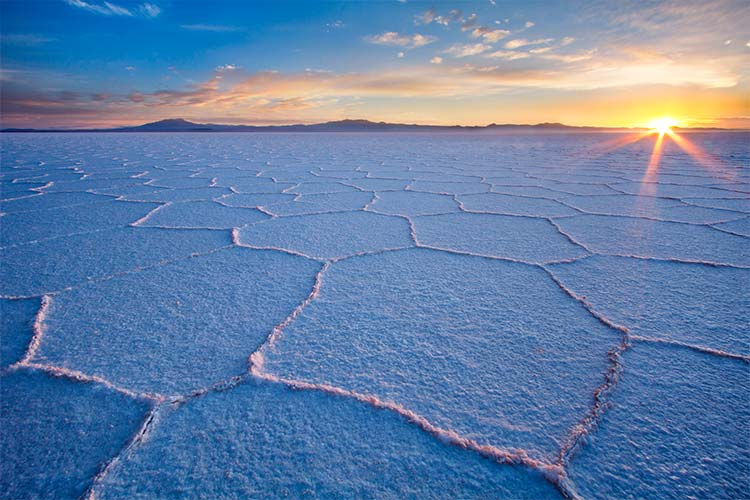 Salar de Uyuni at sunrise, the largest salt flat in the world