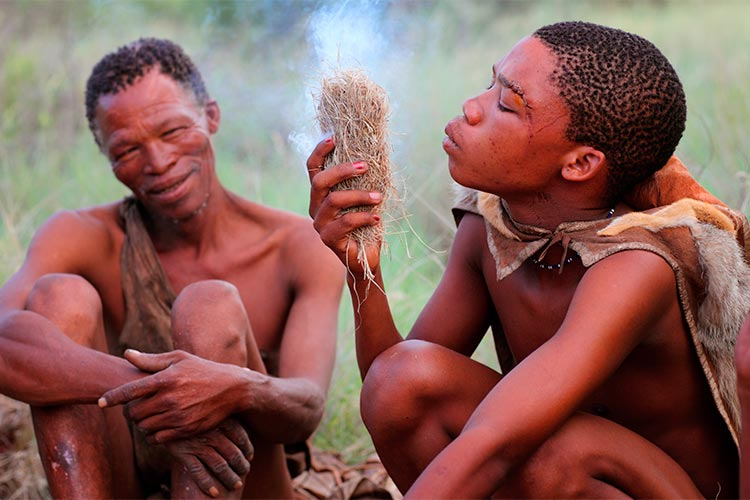 Bushmen tribe in the Kalahari Desert, Botswana