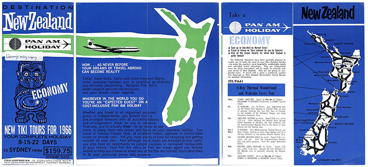 Pan Am Holiday pamphlet for destination New Zealand
