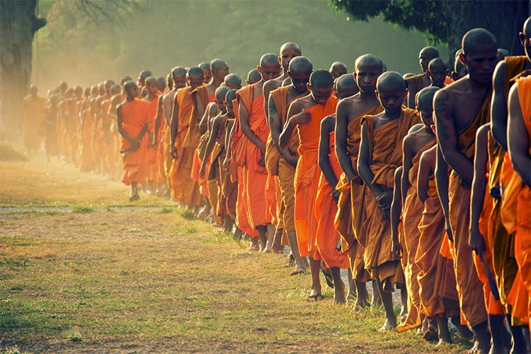 Monks Queuing in Angkor Wat, Cambodia