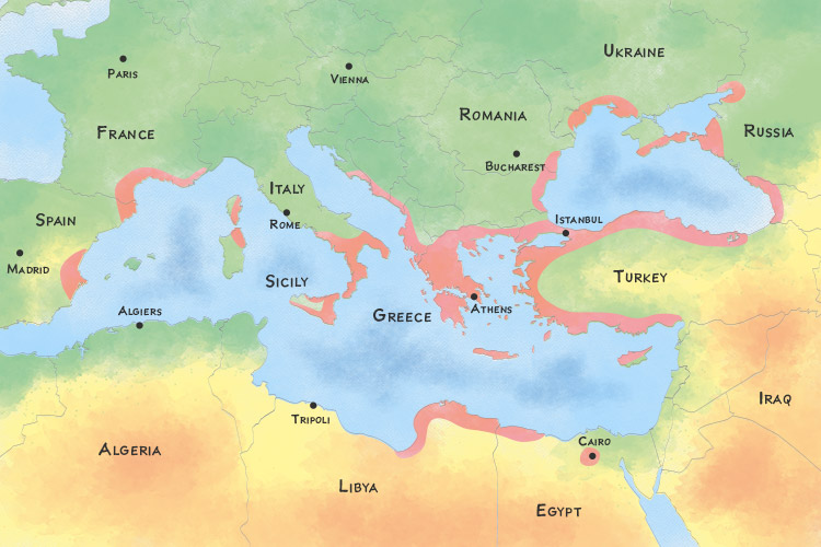 Map showing the location of the Greek Empire at its height and present-day countries