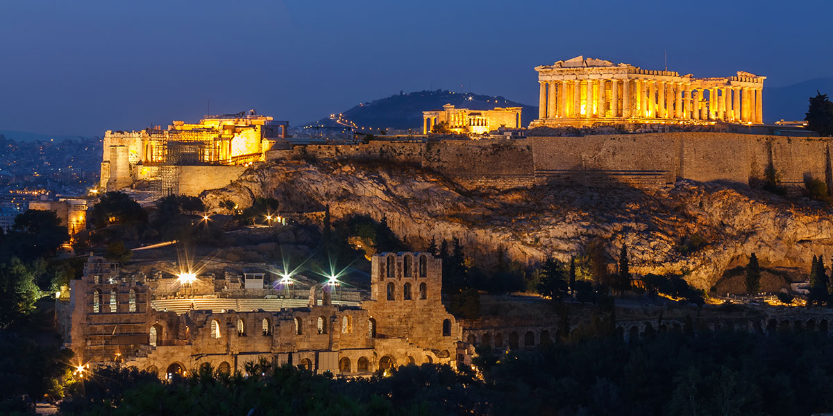 Parthenon and Herodium construction on Acropolis Hill, Athens