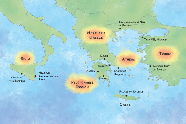 Map showing the Best Places to See Greek Ruins
