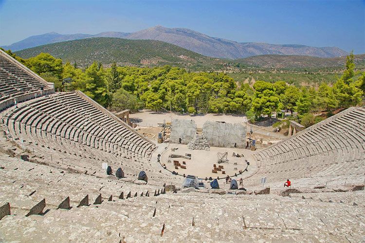 Epidaurus Theatre overlooking the landscape