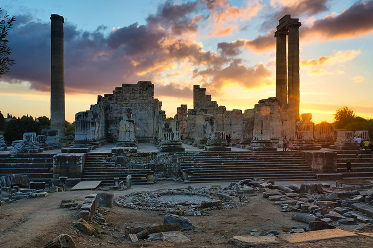 Temple of Apollo at sunset in Didyma, Turkey