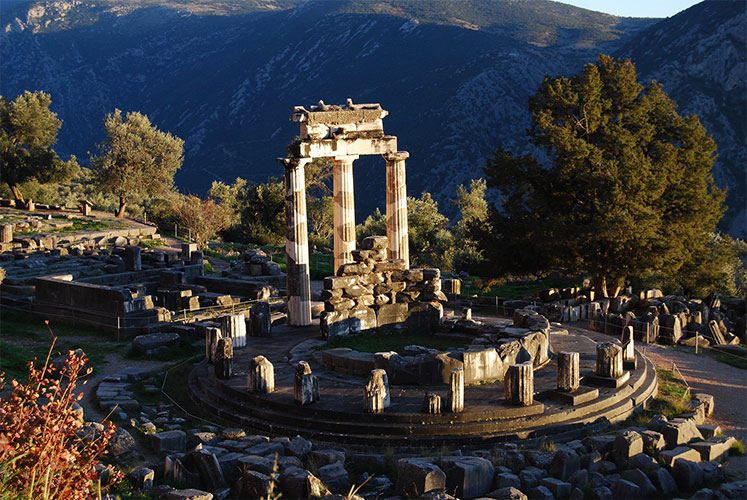 The Temple of Athena Pronaia in Delphi, Greece