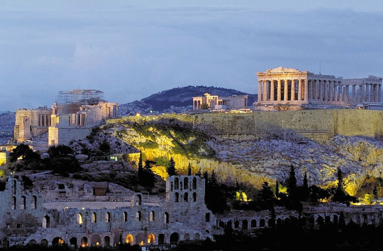 The Parthenon sitting atop Athens' Acropolis