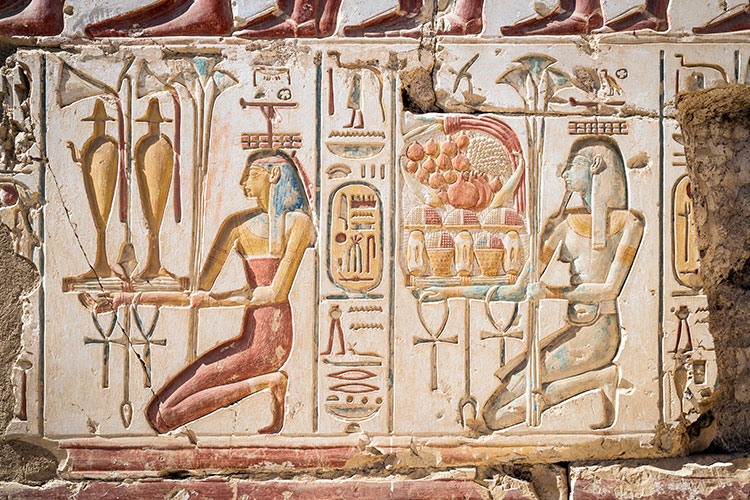 Hieroglyphics at the Temple of Ramses II in Abydos
