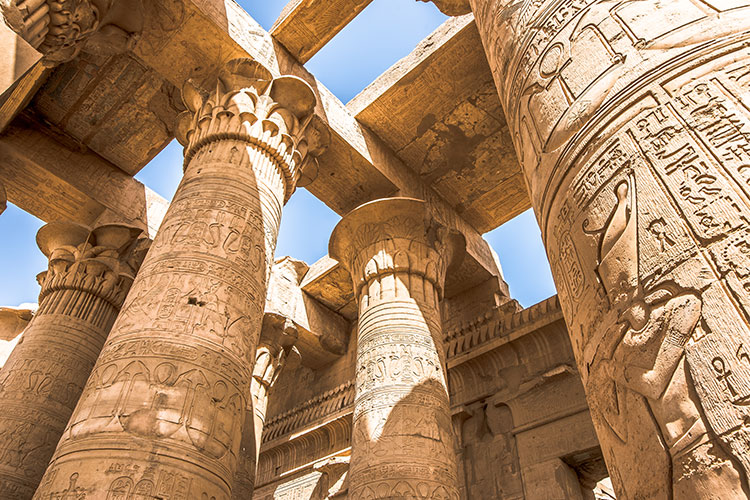 Pillars at the temple of Kom Ombo