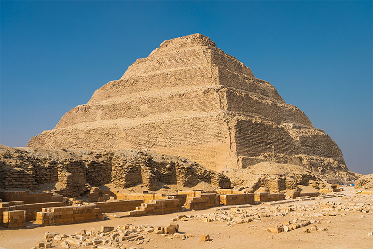 Pyramid of Djoser (Step Pyramid), is an archaeological remain in the Saqqara necropolis, Egypt