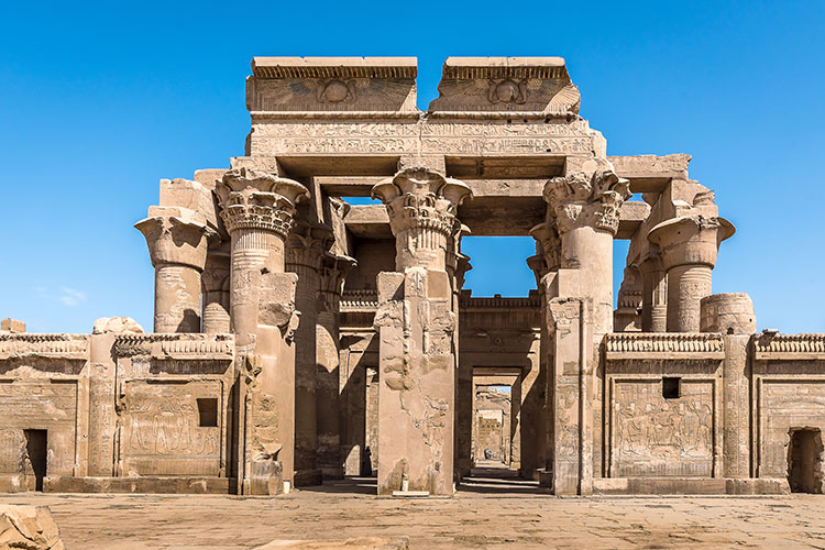 The Graeco Roman Temple at Kom Ombo dedicated to Sobek the crocodile god, and Horus the falcon-headed god