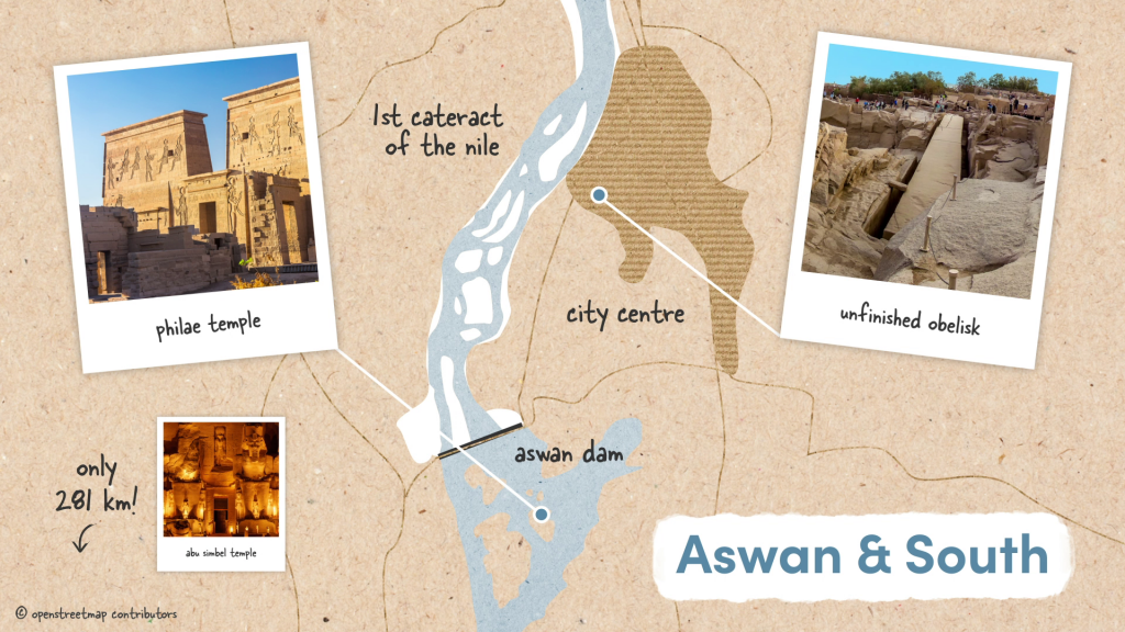Aswan showing the unfinished obelisk and the temple of Philae