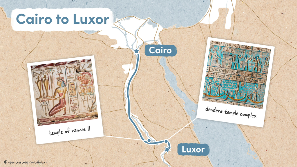 Cairo to Luxor section with Abydos and the Dendera Temple Complex