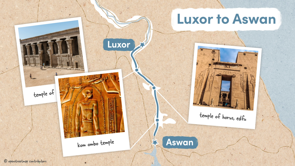 Luxor to Aswan road trip section with the Temple of Horus at Edfu and Kom Ombo