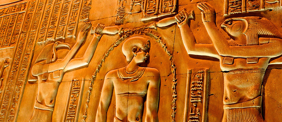 Carved Relief in Kom Ombo Temple, Luxor, Egypt