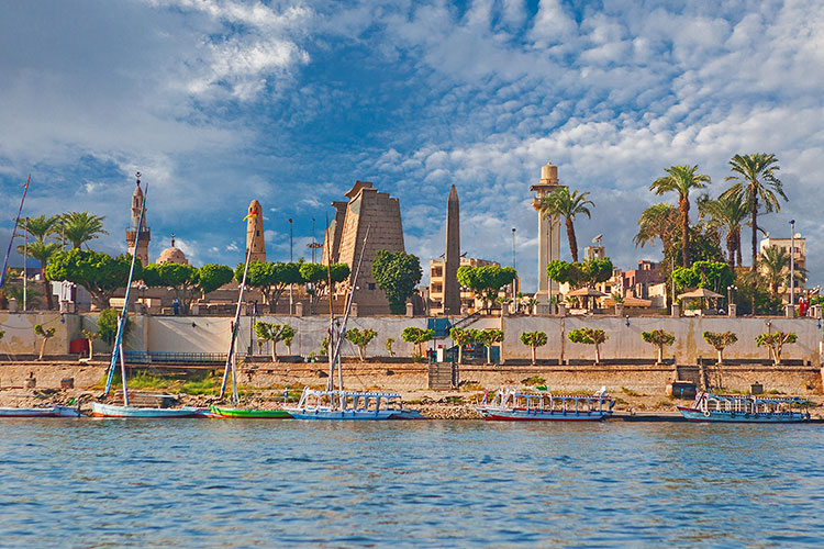Luxor Temple from across the River Nile in Luxor