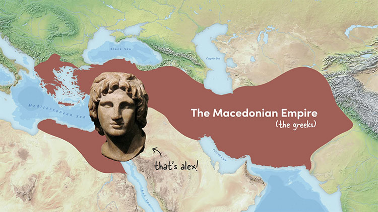 The extent of the Macedonian Empire after the conquest of Alexander the Great