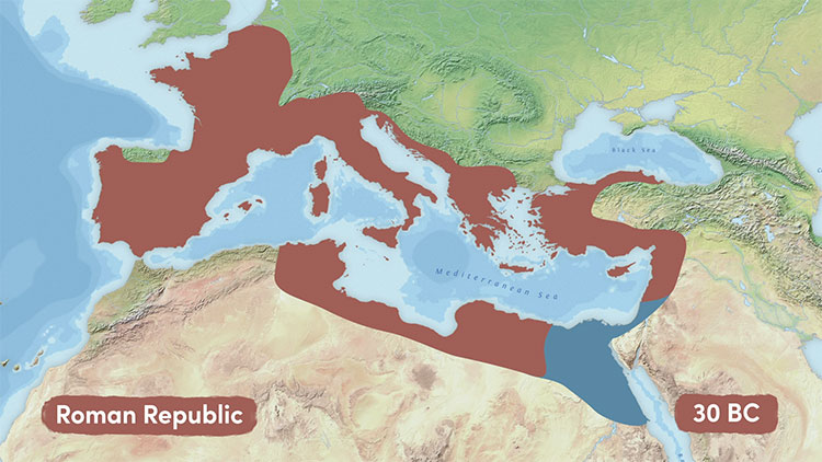 The Roman Republic just before the conquest of Egypt in 30 BC