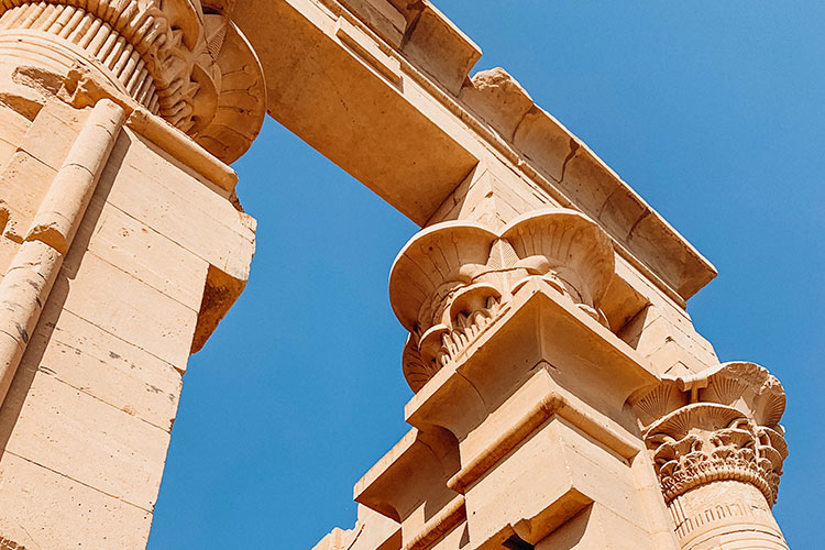 The intricate capitals at the Temple of Philae